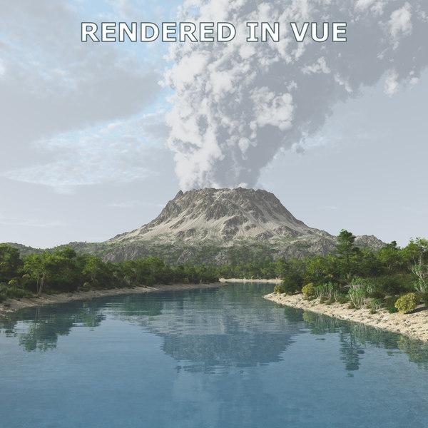 3d model vulcano landscape