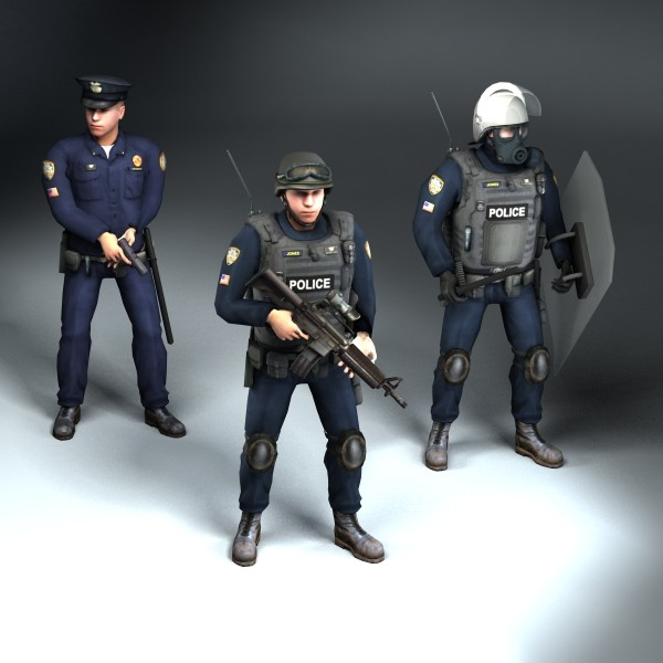 3d set rigged police model
