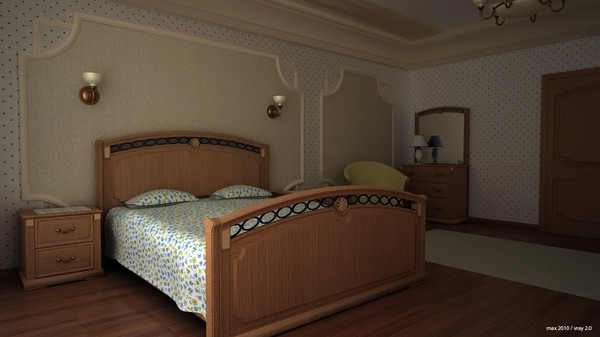 wood bedroom scene 3d model - Wood bedroom... by planetstation