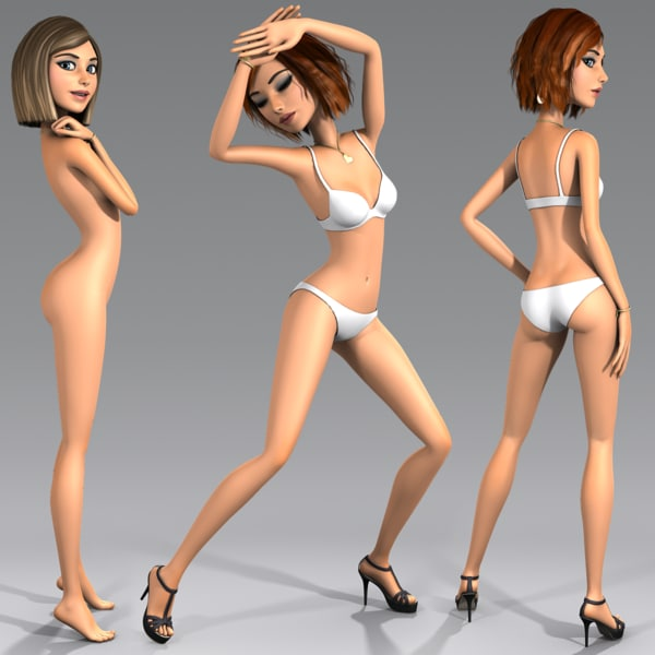 3d model cartoon character young woman - Angie - Rigged... by dmk76
