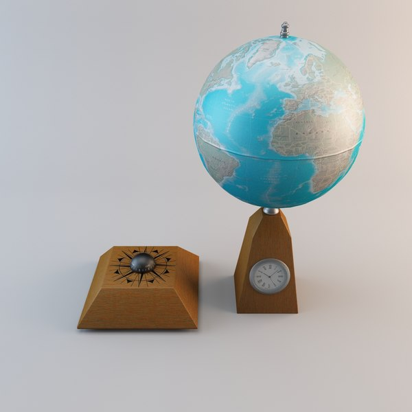 desk globe clock 3ds - Desk Globe with Clock 2... by 3d_molier