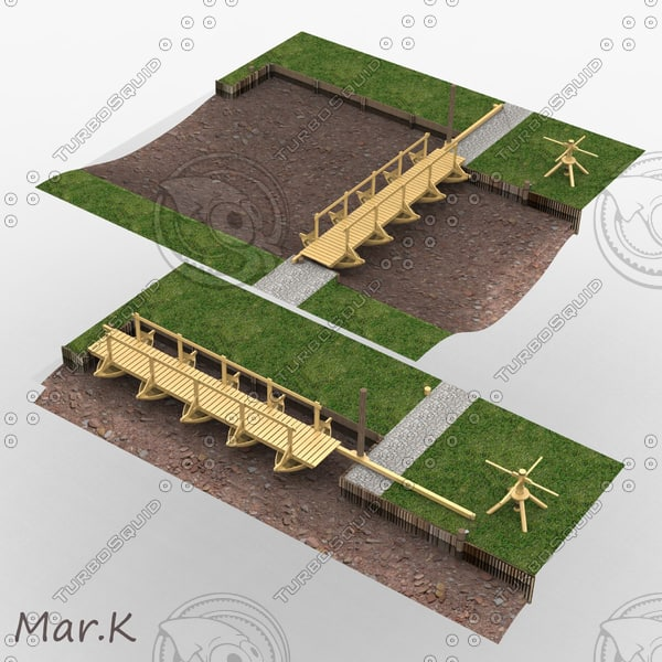 3d model pontoon bridge