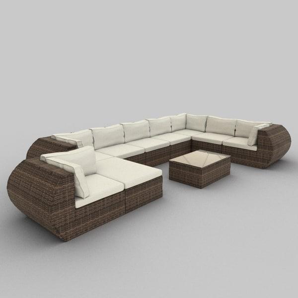 rattan seat set 15 3ds