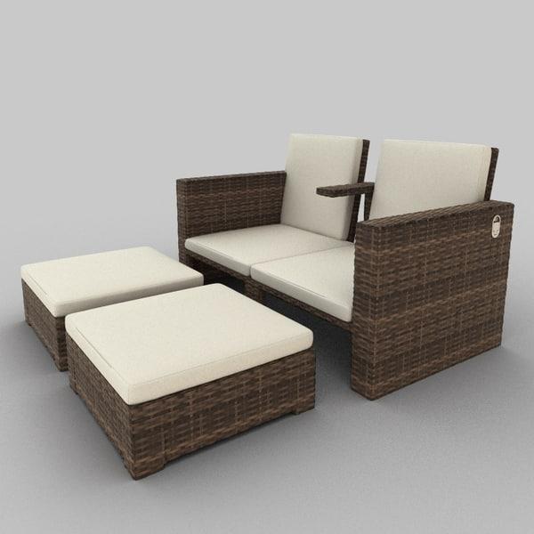 3d model rattan seat set 19