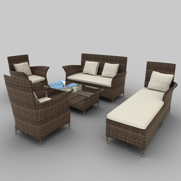 rattan seat set 28 3ds