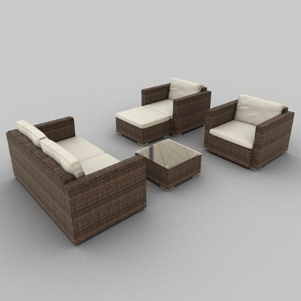 rattan seat set 33 3ds