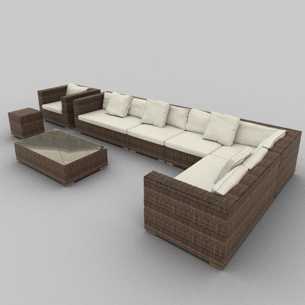 rattan seat set 34 3d 3ds
