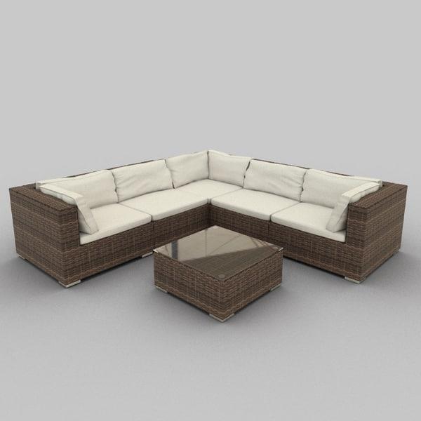 rattan seat set 37 3d 3ds