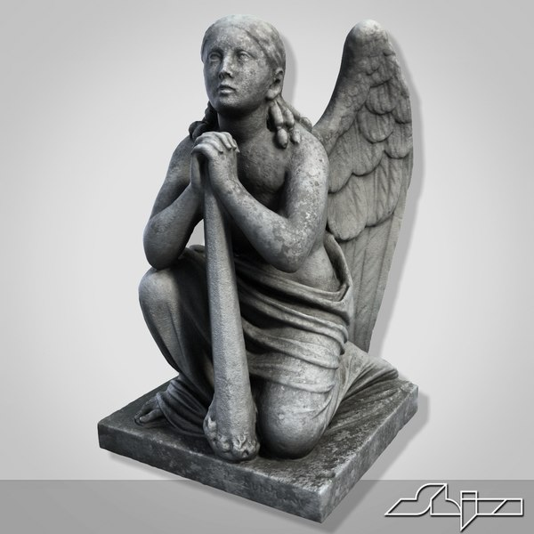 3ds sculpture angel knees - Statue Angel On The Knees... by shiva3d