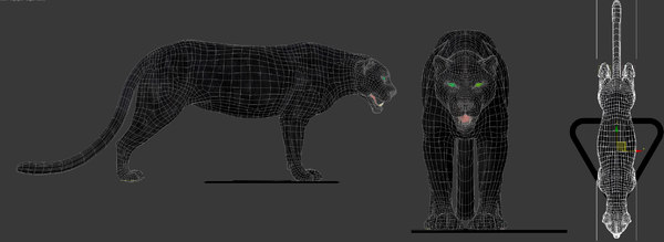 3d model black panther cat - Panther... by Adamec