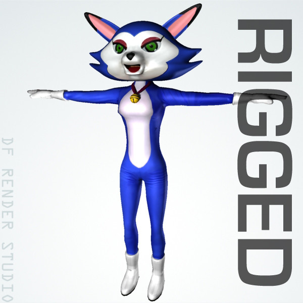 3d model costumed feline rigged cat - Cat Costume (Rigged)... by DF Render Studio