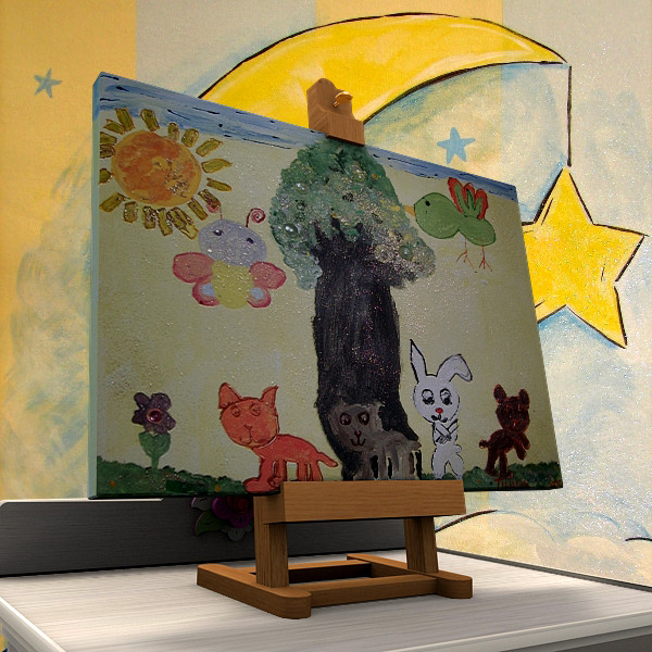 3d model easel painting - Easel and Painting... by mzubak