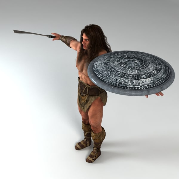 3d warrior weapon shield model - Warrior Man Model... by Alpha3DMax