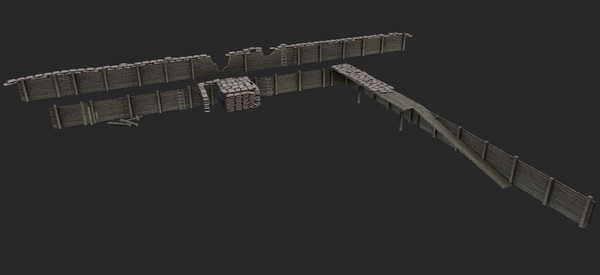 trench polygonal obj - Trench System Low Modular... by tuann123