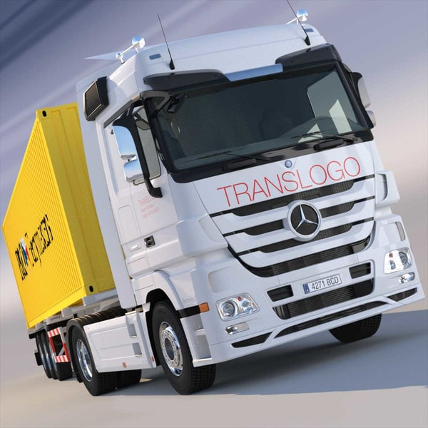 3d mercedes actros semitruck containers model