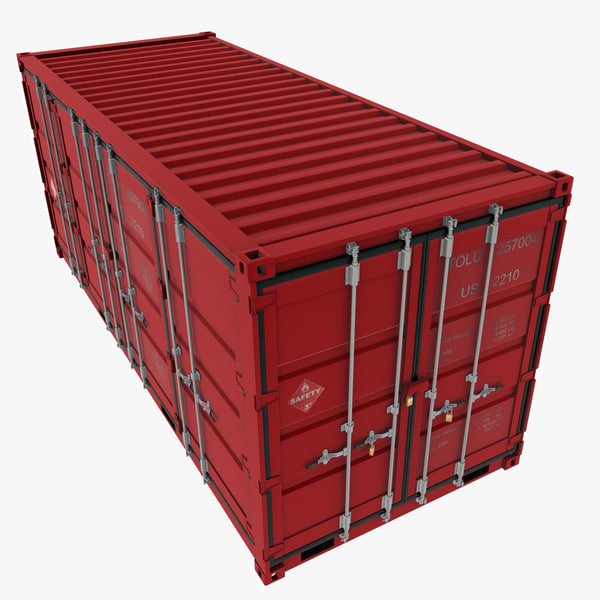3d iso open shipping container