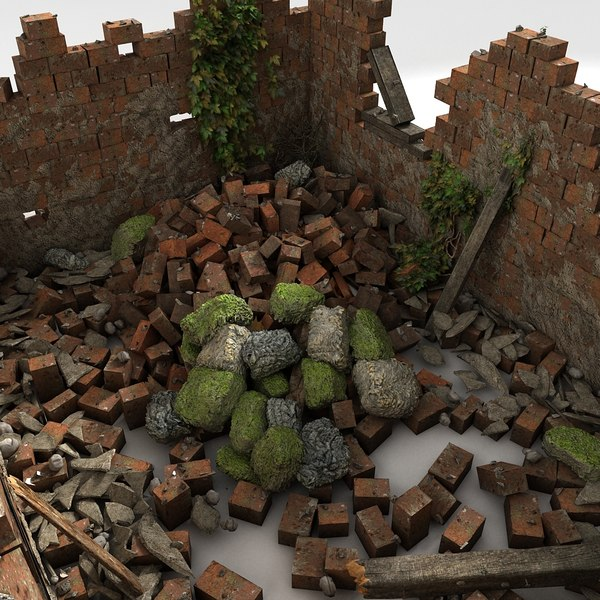 building debris remains 3d model - Stone Rock Red English Brick House Ruin... by Litarvan