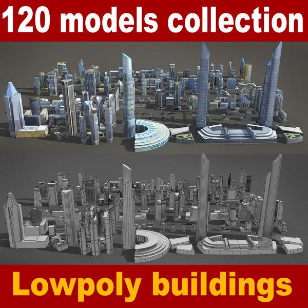 120 lowpoly buildings