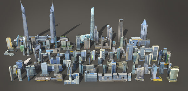 max 120 buildings - 120 lowpoly buildings... by AngelStudios