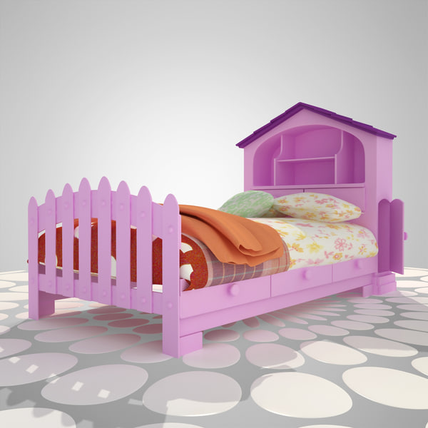 3d pink bed furniture