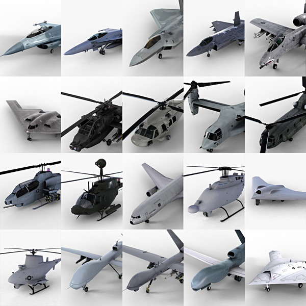 3d model 20 usaf aircrafts