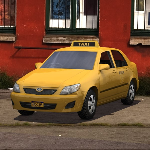 3d toyota corolla taxi cab