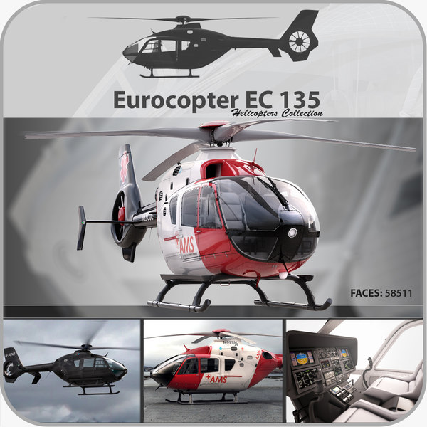 3d eurocopter ec 135 helicopter model