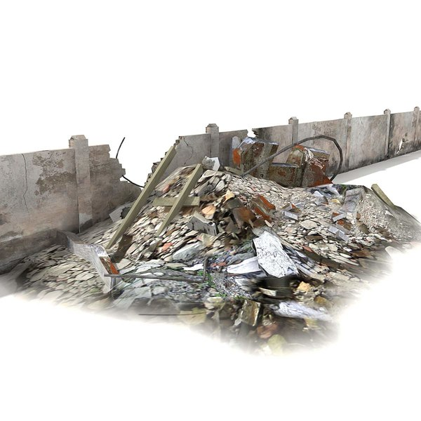 3d model rubble wall ruined - Rubble and Ruined Wall Destroyed... by 3D_Multimedia