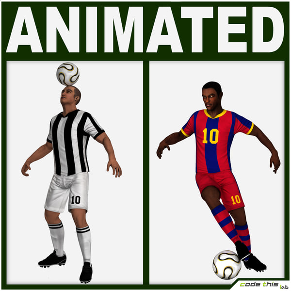 3d team players soccer model