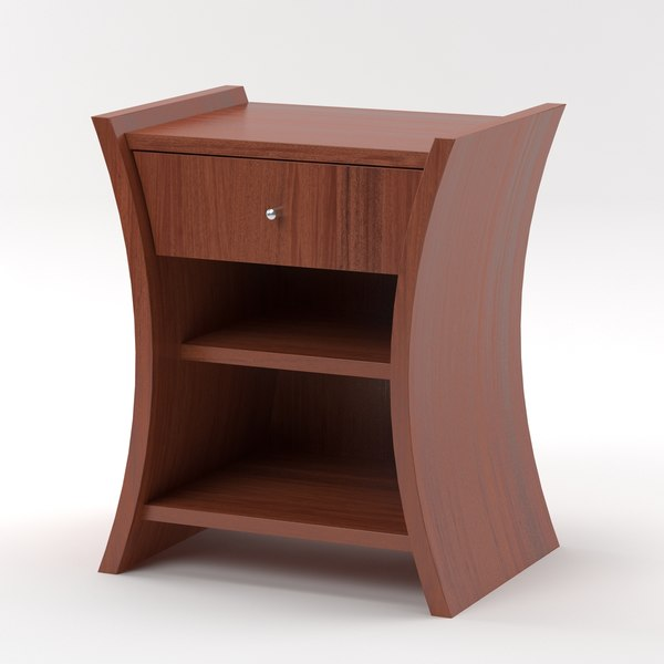3d embrace bedside table mahogany model