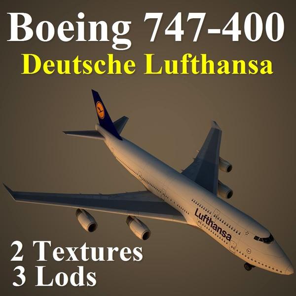 3d boeing 747-400 dlh model