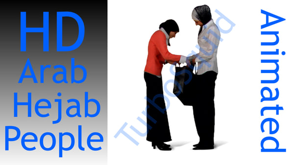 2d arab people animated green screen footage