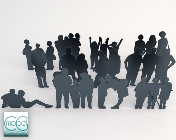 3ds max silhouette people - people all style - packet 03... by CG MODEL