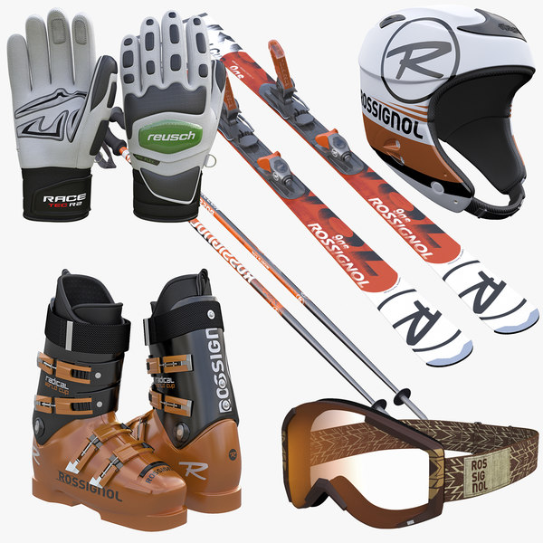 Alpine Ski Boots Helmet Goggles Poles Collection