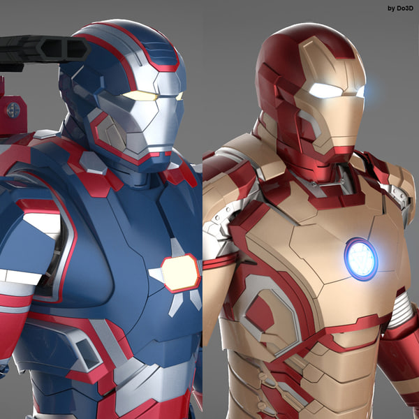Iron Man 3 Suits - Mark 42 Tony Stark Armor & Patriot Armor