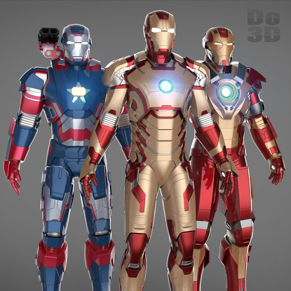 Iron Man 3 Suits - Mark 42 Tony Stark Armor & Patriot Armor & Mark 17 Heartbreaker Armor