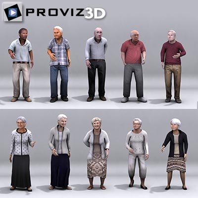 elderly people 3d 3ds