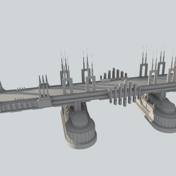 big sci-fi bridge 3d model - sci-fi bridge... by rE13