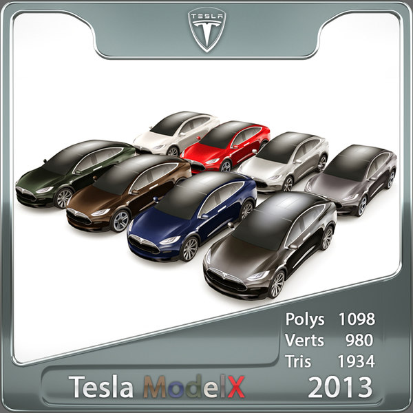 3d 2013 tesla x custom car