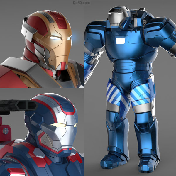 Iron Man 3 Suits - Patriot Armor & Mark 17 Heartbreaker Armor & Mark 38 Igor Armor