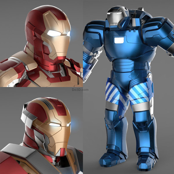 Iron Man 3 Suits - Mark 42 Tony Stark Armor & Mark 17 Heartbreaker Armor & Mark 38 Igor Armor