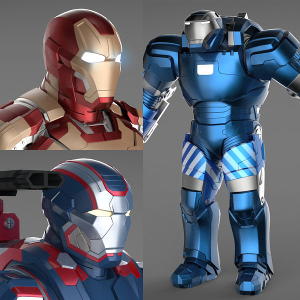 Iron Man 3 Suits - Mark 42 Tony Stark Armor & Patriot Armor & Mark 38 Igor Armor