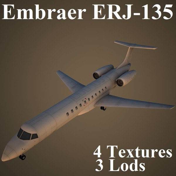 embraer erj-135 low-poly 3d max