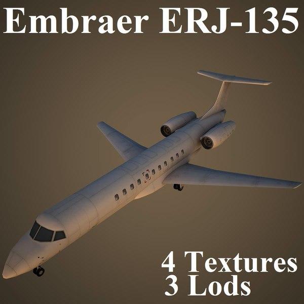 embraer erj-135 low-poly 3d max