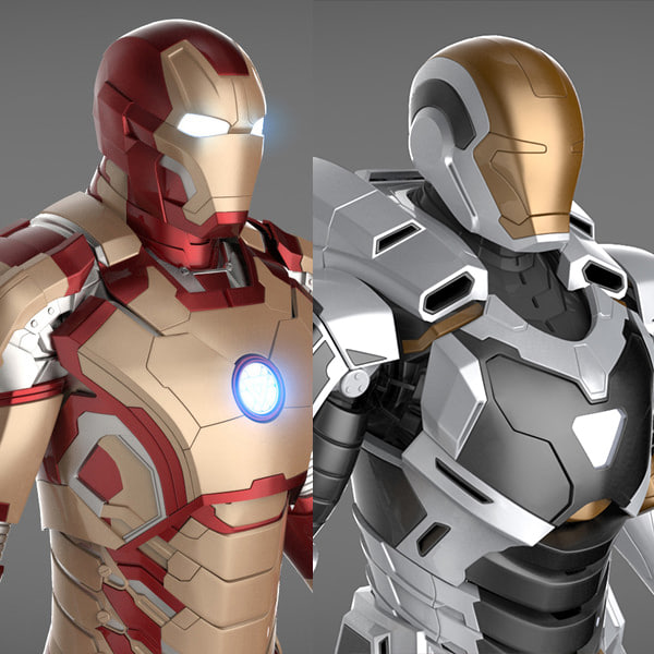 Iron Man 3 Suits - Mark 42 Tony Stark Armor & Mark 39 Gemini Armor