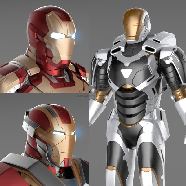 Iron Man 3 Suits - Mark 42 Tony Stark Armor & Mark 17 Heartbreaker Armor & Mark 39 Gemini Armor