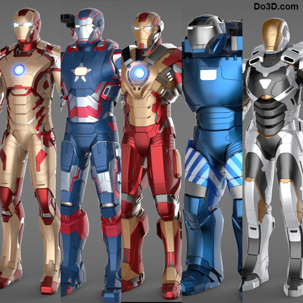 Iron Man 3 Suits - Mark 42 Tony Stark Armor, Patriot Armor, Mark 17 Heartbreaker Armor, Mark 38 Igor Armor and Mark 39 Gemini Armor