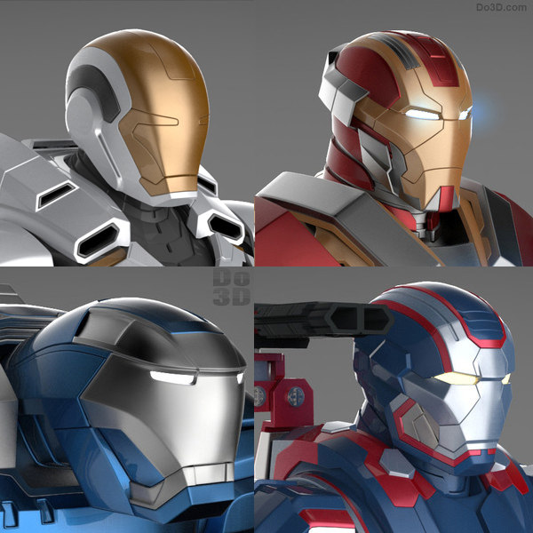 Iron Man 3 Suits -Patriot Armor, Mark 17 Heartbreaker Armor, Mark 38 Igor Armor and Mark 39 Gemini Armor