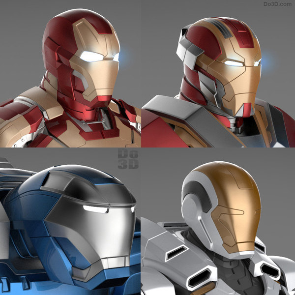 Iron Man 3 Suits - Mark 42 Tony Stark Armor,  Mark 17 Heartbreaker Armor, Mark 38 Igor Armor and Mark 39 Gemini Armor