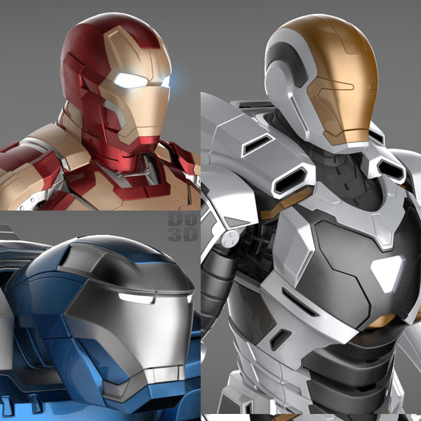 Iron Man 3 Suits - Mark 42 Tony Stark Armor, Mark 38 Igor Armor and Mark 39 Gemini Armor